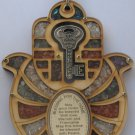 Wood hamsa & home bless & key of wealth kabbalah amulet