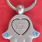 Hamsa w/ heart spin keychain star of David safe journey
