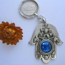 Hamsa Keychain against evil eye charm blue gem kabbalah