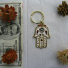 White Hamsa keychain with safe journey bless mazal luck from Israel