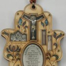 Wood Christian hamsa w/ holy land water cross crucifix