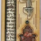 Lovely wood 4&quot; mezuza mezuzah with hamsa Israel judaica
