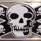 LP-171 Confederate Flag Skull Black & Silver License Plate