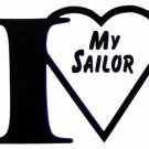 """DEC-063S I Love my Sailor Vinyl Decal Graphic - approx 4"""""""