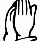 """DEC-028S Praying Hands Vinyl Decal Graphic - approx 4"""""""