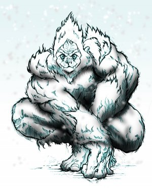 Yeti In The Snow in a Set of 4 Coasters