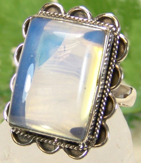Opalite Ring in .925 Sterling Silver Setting, Sz 7.5 NEW
