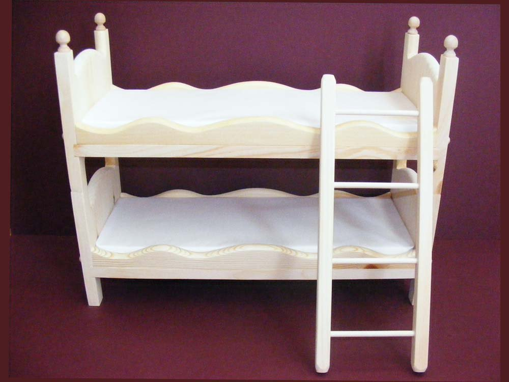 Stackable Doll Bunk Bed with Ladder and Mattresses