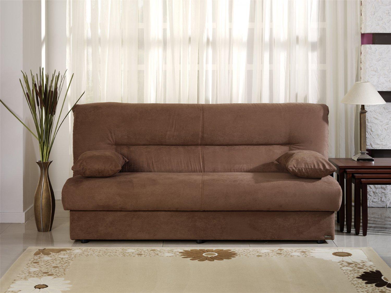 Regata Brown Microfiber Sofa Bed With Storage