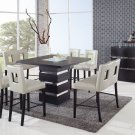 G072BT Wenge 7pc Bar Table Set with Beige Chairs by Global