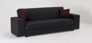 Kobe Sofa Bed with Storage in Black PU