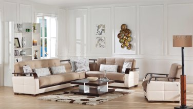Natural Naomai Lt Brown Sectional Sofa Sleeper by Sunset