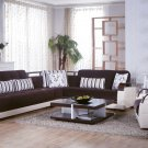 Natural Colins Brown/Cream leathertte Sectional Sofa Sleeper