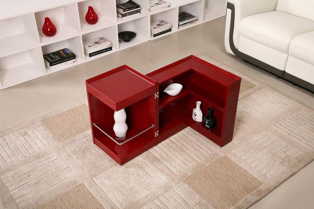 P205b Red Gloss End Table Mini Bar