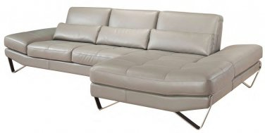 833 Grey Leather Sectional Sofa