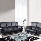 9908 2pc Black Bonded Leather Living Room Set