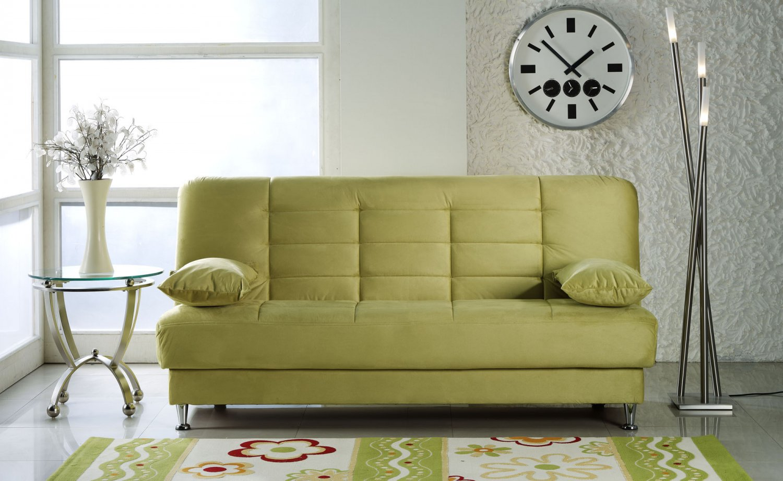 Vegas Lt Green Microfiber Sofa Bed With Storage