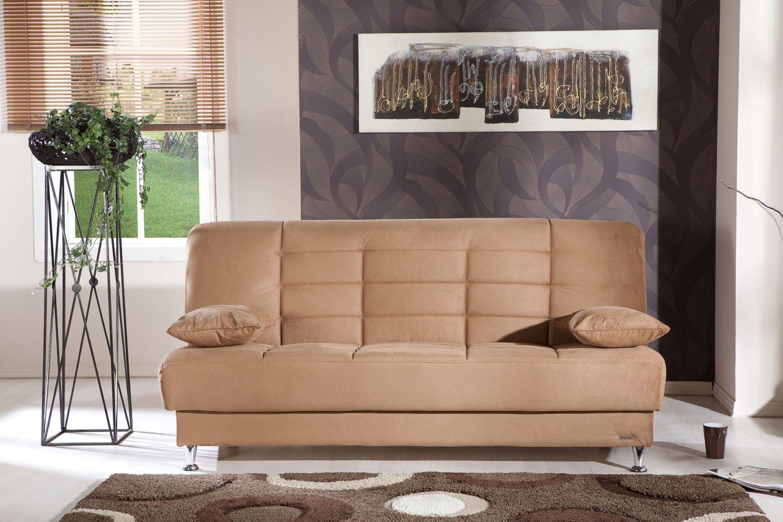 Vegas Brown Microfiber Sofa Bed With Storage