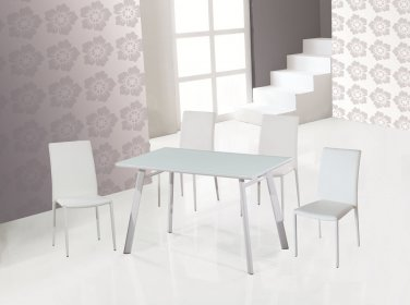 B24-DC13 Modern 5pc Dining Set with White Chairs