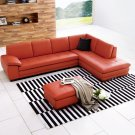Canal Orange Italian Leather Sectional