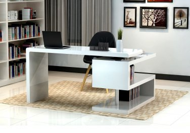 Modern Office Desk with S-design Bookcase