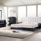 Black Modern Style King Bedroom Set with white Leatherette Headboard