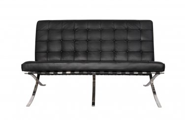 Barcelona Style Italian Leather Love Seat