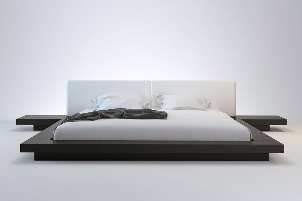 Florentino Wenge Modern Queen Platform Bed & Nightstands