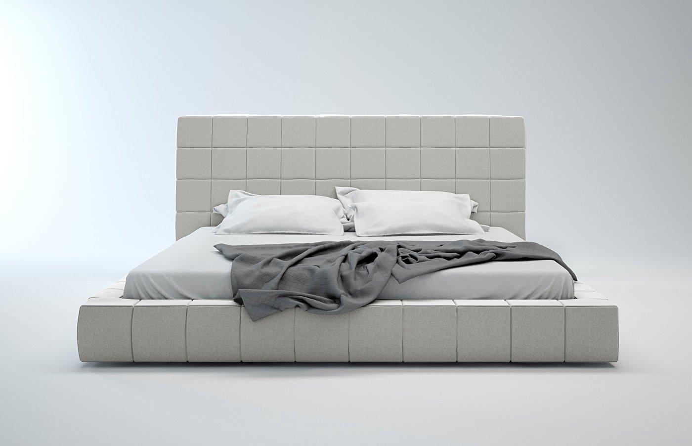 Donna Grey Fabric Modern Queen Platform Bed