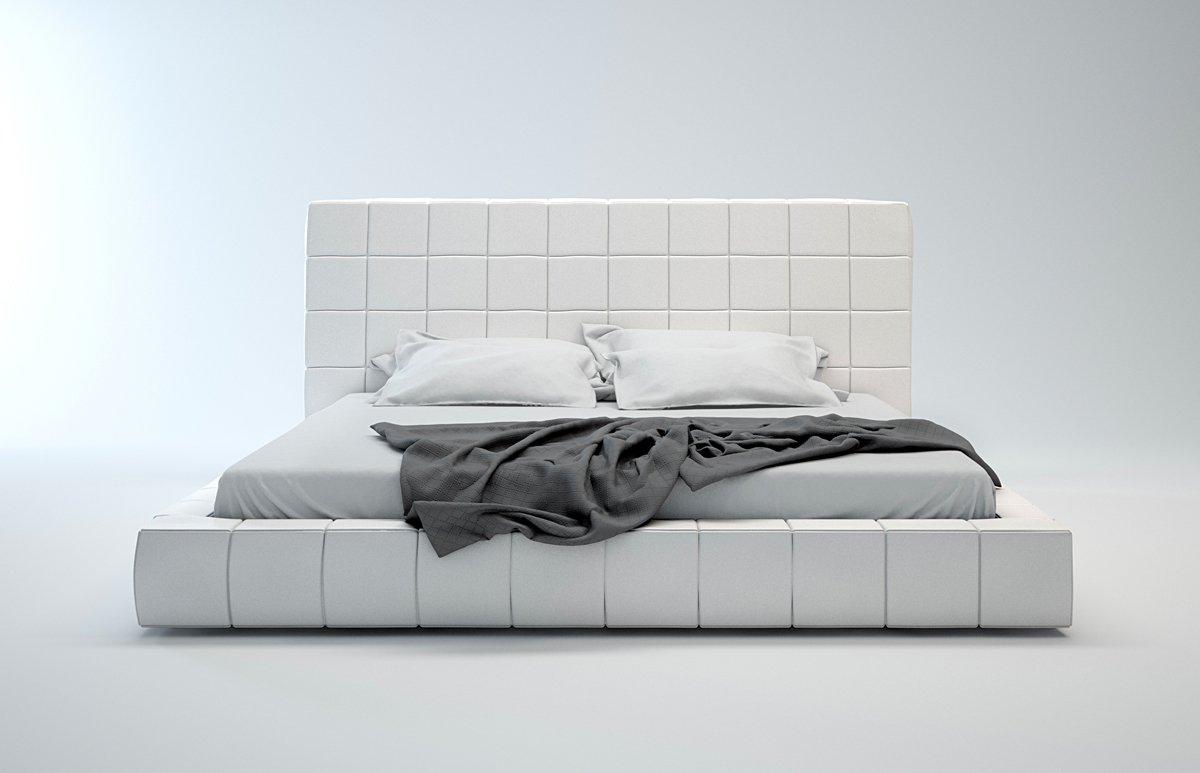 Donna White Leatherrete Modern King Platform Bed