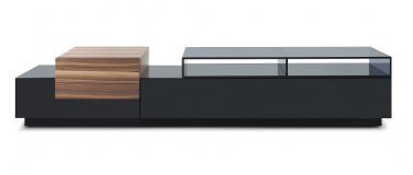 TV072 Tv Stand in Black Lacquer and Walnut Finish
