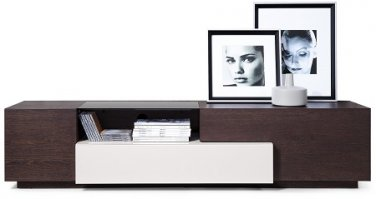 TV015 TV Brown Oak/Grey Lacquer by J&M Furniture