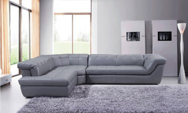397 Italian Leather Sectional in Grey By J&M