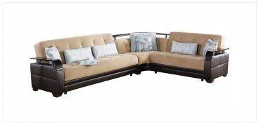 Natural Naomai Brown/Brown leathertte Sectional Sofa Sleeper