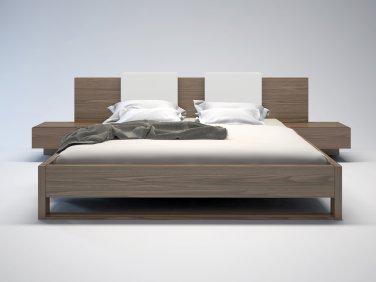 Monroe Queen Bed & Nightstands Walnut/White