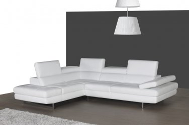 A761 Italian Leather Sectional Sofa in White By J&M