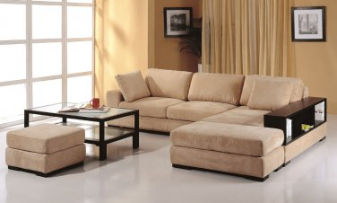 Telus Beige Sectional Sofa + 2 Ottomans