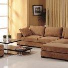 Telus Sahara Brown Sectional Sofa + 2 Ottomans