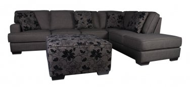Alessandro Dark Grey Sectional Sofa with Ottoman