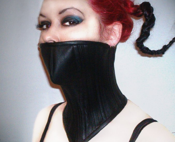 Silence - Leather Over the Mouth Neck Corset     NC8-4000