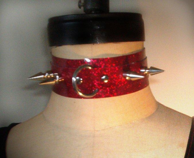 Sparkle Vinyl Spike Collar   CS3-9020