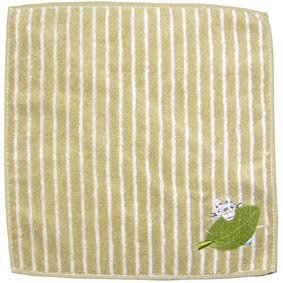 Ghibli - Totoro & Leaf - Mini Towel - OrganicCotton - Totoro & Chu Totoro Embroidered - green (new)