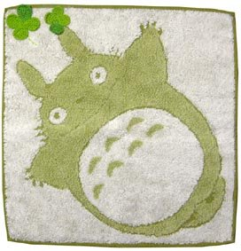 Ghibli - Totoro - Mini Towel - Organic Cotton - Clover Applique - egao - green - 2006 (new)