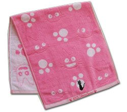 Ghibli - Kiki's Delivery Service - Face Towel - Jiji Embroidered - pink -out of production-RARE(new)