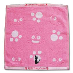 Ghibli - Kiki's Delivery Service - Hand Towel - Jiji Embroidered - pink -out of production-RARE(new)