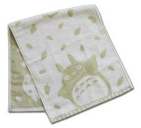 Ghibli - Totoro - Face Towel - Natural Colored Cotton - green - Omajinai (new)
