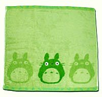 Ghibli - Totoro - Hand Towel - Non Twisted Thread & Shaggy Weave & Loop - popuri - green (new)