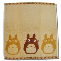 Ghibli - Totoro - Hand Towel - Non Twisted Thread & Shaggy Weave & Loop - popuri - brown (new)