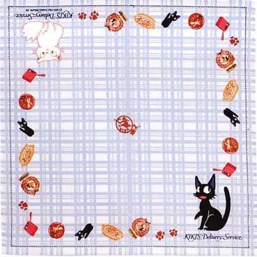 Ghibli - Kiki's Delivery Service - Jiji & Lily - Handkerchief -blue-outofproduction-RARE-2 left(new)