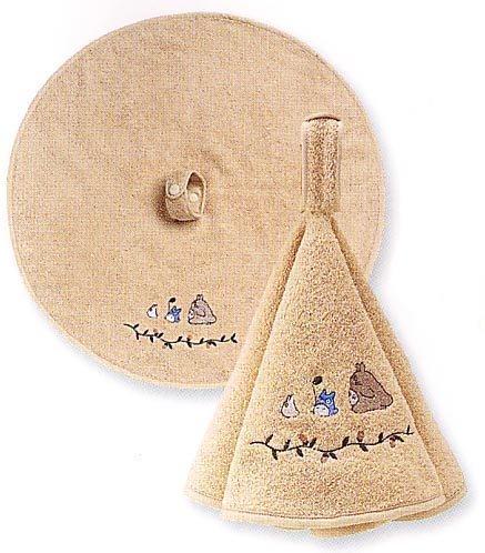 Ghibli - Totoro - Loop Round Towel - Totoro & Chu & Sho Totoro Embroidered - kurumi - beige (new)